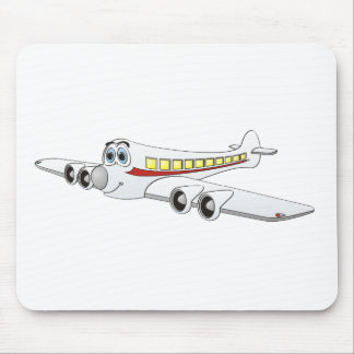 White Passenger Jet Cartoon Mouse Pad