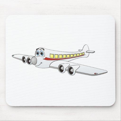 White Passenger Jet Cartoon Mouse Pads