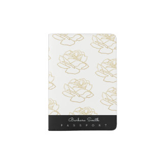 white passport cover with rose flowers pattern
