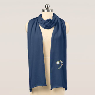 White Pastel Bass Clef Music Scarf