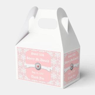 White & Pastel Pink Gable Favor Box - Sweet 16th