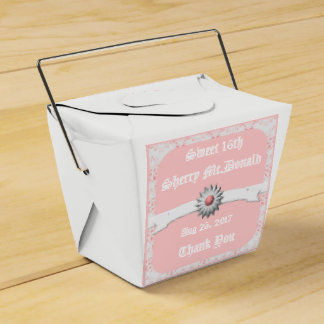 White & Pastel Pink Take Out Favor Box -Sweet 16th