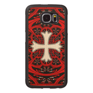 White patonce cross wood phone case