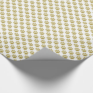 White paw print dog lover wrapping paper