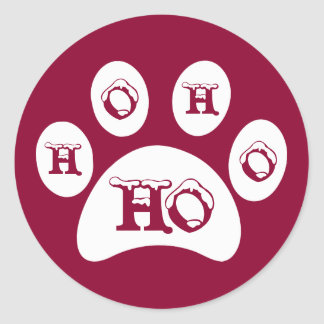 """White Paw Print with Snow Capped """"Ho, Ho, Ho"""" Classic Round Sticker"""