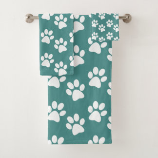 White Paw Prints Design Bath Towel Set