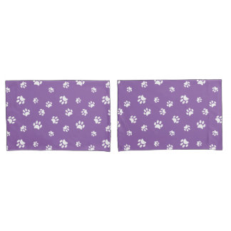 White Paw Prints Pattern Pillowcase