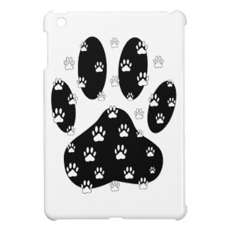 White Paws On Black Paw Print Cover For The iPad Mini