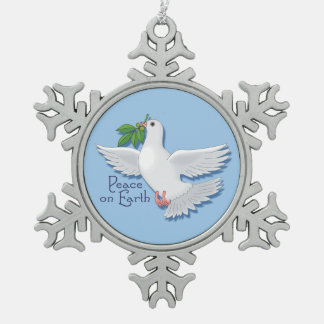 White Peace Dove on Earth Pewter Snowflake Ornament