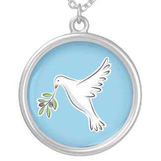 White peace dove with olive branch blue necklace
