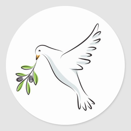 White peace dove with olive branch round sticker