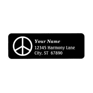 White Peace Sign on Black Custom Address Label