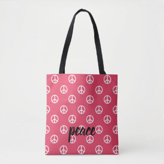 White Peace Symbols on Fresh Berry Personalized Tote Bag
