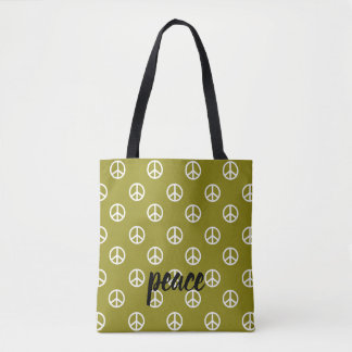 White Peace Symbols on Olive Green Personalized Tote Bag