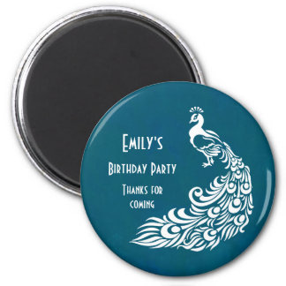 White Peacock on Teal Birthday Party Thank You Magnet