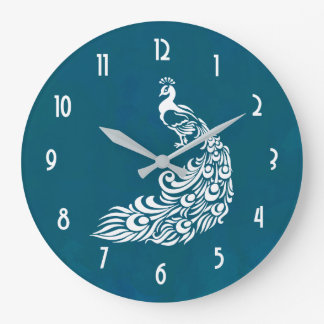 White Peacock on Teal Bold Stylish Art Deco Design Large Clock