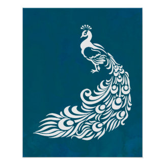 White Peacock on Teal Bold Stylish Art Deco Design Poster
