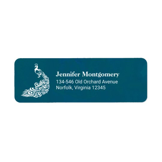 White Peacock on Teal Bold Stylish Art Deco Design Return Address Label