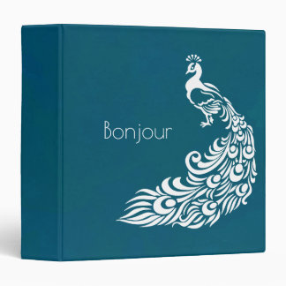 White Peacock on Teal Bonjour   Chic and Stylish Vinyl Binder