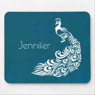 White Peacock on Teal Chic Stylish Art Deco Design Mouse Pad
