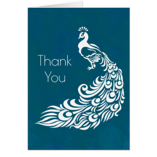 White Peacock on Teal Thank You Card