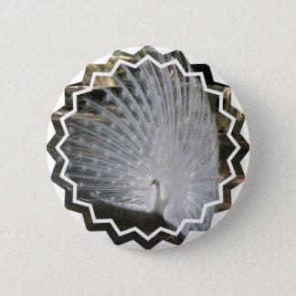 White Peacock Round Button