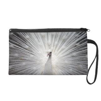 White Peacock Satin Clutch Bag Wristlet