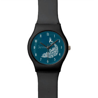 White Peacock Stylish Art Deco Design Personalized Watch