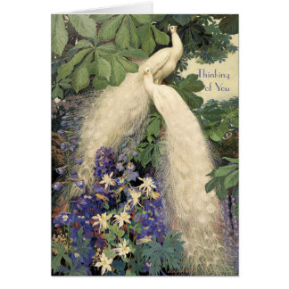 White Peacocks and Flowers Card