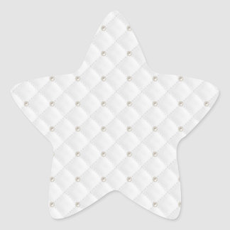 White Pearl Stud Quilted Star Stickers