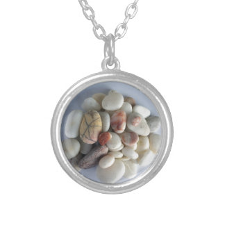 white pebbles silver plated necklace