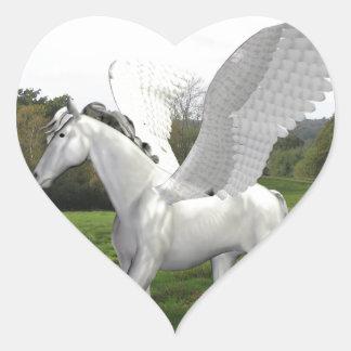 White Pegasus in a Field Heart Sticker