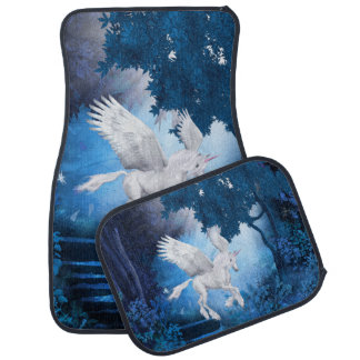White Pegasus Unicorn in Moon Light Car Mat