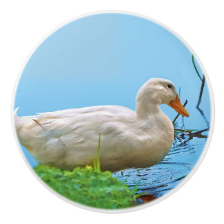 White Pekin Duck Ceramic Knob