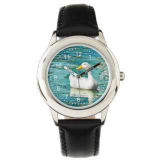 White Pekin Duck  - Nature Photo in Reflections Wrist Watch