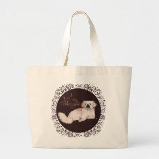 White Pekingese Dog Tote Bag