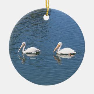 white pelican couple ornament