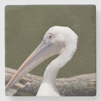 White Pelican Stone Beverage Coaster