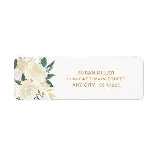 White Peonies Floral wedding return address