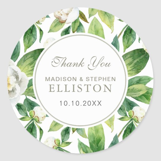 White Peonies & Leaf Watercolor | Thank You Classic Round Sticker