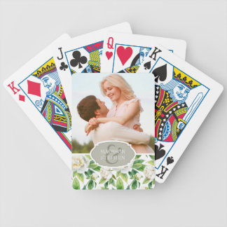 White Peonies & Leaf Watercolor - Wedding Bicycle Playing Cards