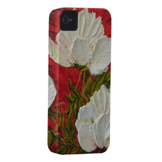 White Peonies on Red Background iPhone 4 Case