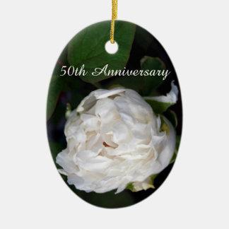 White Peony - 50th Anniversary Ceramic Oval Ornament