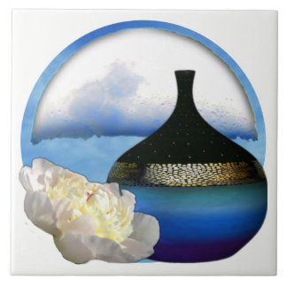 White Peony Blue Black Gold Vase Moon Sky Motif Tile