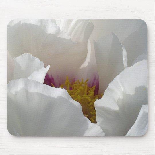 White Peony Flower Mousepad