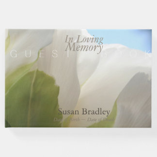 White Peony In Loving Memory Funeral Guest Book