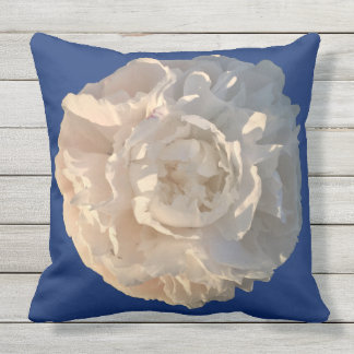 White Peony on a blue background Throw Pillow