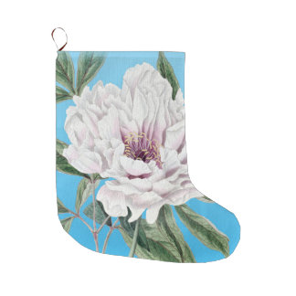 White Peony On Blue Large Christmas Stocking