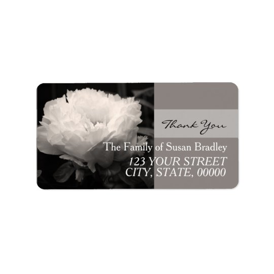White Peony Sepia Photo Family Thank You Label