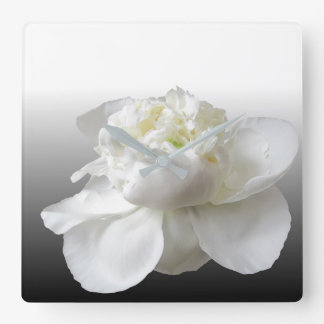white peony square wall clock